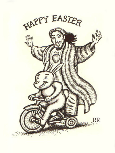 happy easter jesus riding on bike with easter bunnyJesus Easter Bunny