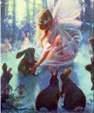 fairy with bunny rabbits