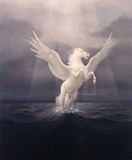 pegasus jumps out of water