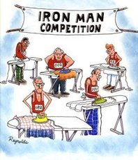 iron man competition men ironing clothes