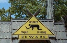 drunken people crossing beware