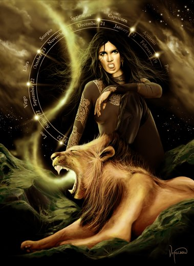 lion and woman