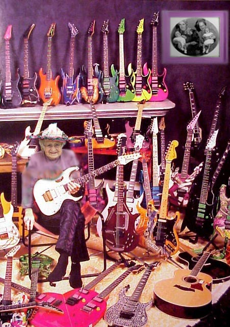 old lady with a ton of guitars
