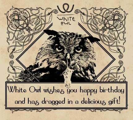 white owl wishes you happy birthday and has dragged in a delicious gift