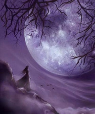 girl stands by full moon