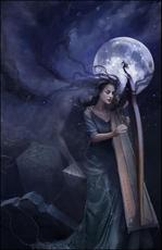 woman with ghost playing harp in moonlight