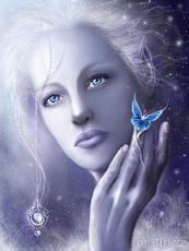 pale woman with butterfly