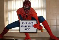 thanks for the add spider man
