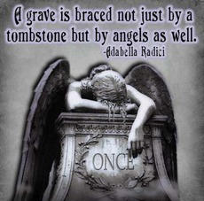 a grave is braced not just by a tombstone but by angels as well