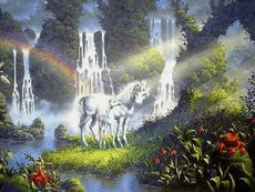 unicorns waterfalls rainbow streams