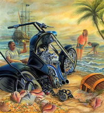 motorcycle on beach